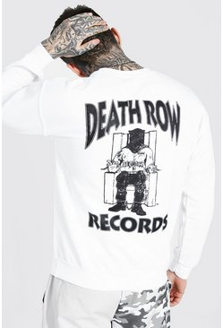 White Death Row Records Back Print Sweater