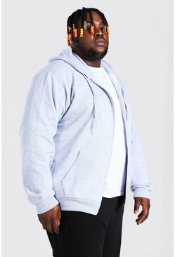 Grey marl Plus Size Basic Zip Through Hoodie