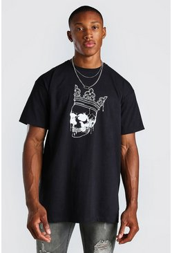 Black Oversized Skull And Crown Print T-Shirt