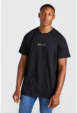 Black Oversized Certified Print T-Shirt