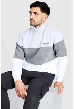 Grey Original Man Colour Block Funnel Neck Sweatshirt