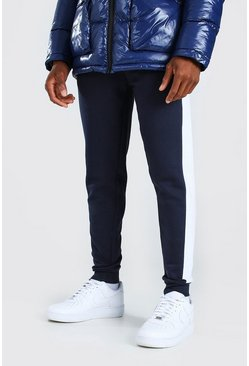 Blue Skinny Fit Jogger With Side Panel