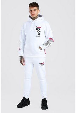 White Flame Printed Hoodie And Jogger Set