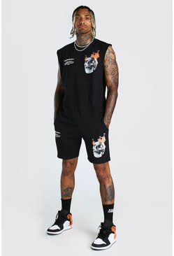 Black Skull Printed Sleeveless T-Shirt And Short Set