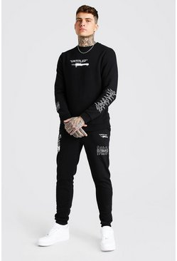 Black Man Official Printed Sweat And Jogger Set