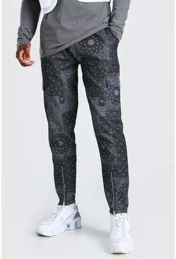 Black Bandana Printed Zip Hem Cargo Pants