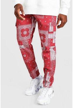 Red Bandana Printed Zip Hem Cargo Pants