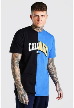 Black California Chicago Illinois Spliced T-Shirt