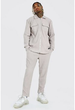 Grey MAN Pleated Shirt And Trouser Set