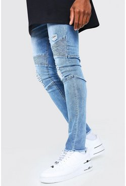 Mid blue Super Skinny Ripped Biker Jeans With Zip Detail