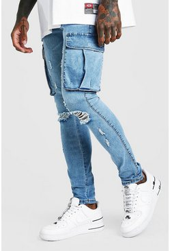 Bleach wash Super Skinny Cargo Jean With Knee Rips