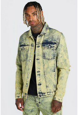 Yellow Overdyed Denim Jacket With Rips And Zip Cuffs