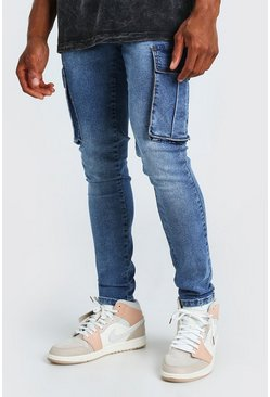 Mid blue Super Skinny Cargo Jeans