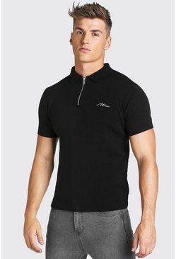 Black MAN Muscle Fit Half Zip Knitted Short Sleeve Polo