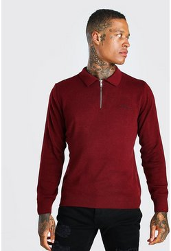 Burgundy MAN Muscle Fit Half Zip Knitted Long Sleeve Polo