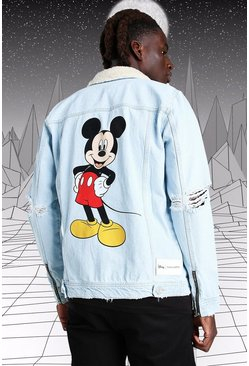 Ice blue Disney Mickey Denim Jacket With Borg Collar