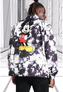 Black Disney Mickey MAN Official Tie Dye Coach Jacket