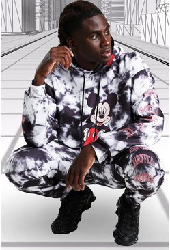 Black Disney Mickey MAN Official Tie Dye Hooded Tracksuit