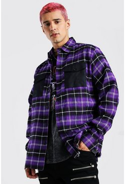 Purple Long Sleeve Oversized Contrast Pockets Check Shirt