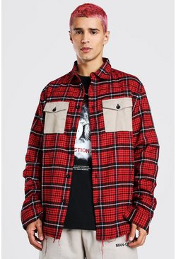 Red Long Sleeve Oversized Contrast Pockets Check Shirt