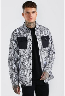 Grey Long Sleeve Oversized Contrast Pockets Snake Shirt