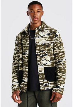 MAN Official Trainingsjacke aus Polar Fleece mit Camouflage-Print, Khaki