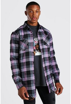 Charcoal Longline Distressed Hem Check Shirt