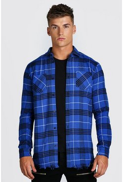 Blue Longline Distressed Hem Check Shirt