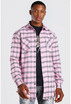 Pink Longline Distressed Hem Check Shirt