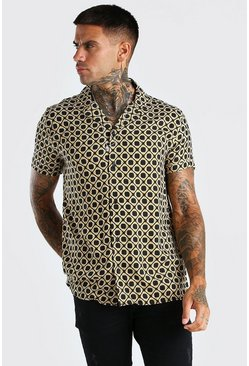 Black Short Sleeve Revere Collar Viscose Geo Print Shirt