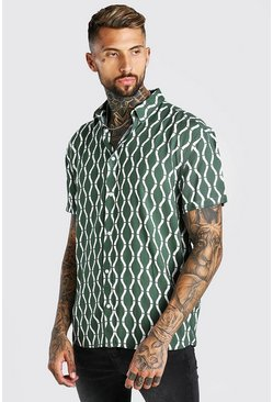 Khaki Short Sleeve Oversized Viscose Print Shirt