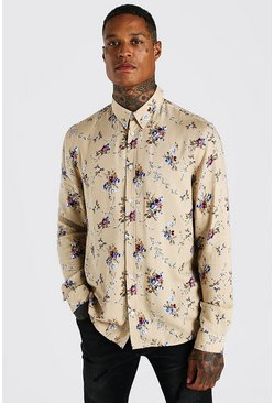 Stone Long Sleeve Viscose Floral Print Shirt