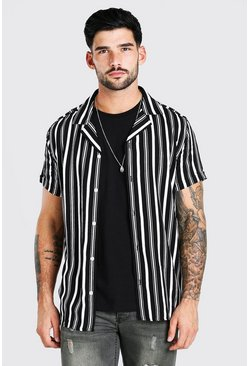 Black Short Sleeve Revere Collar Viscose Stripe Shirt