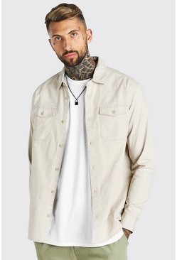 Stone Twill Overshirt With Chest Pockets