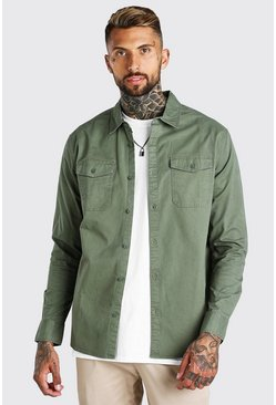 Khaki Twill Overshirt With Chest Pockets