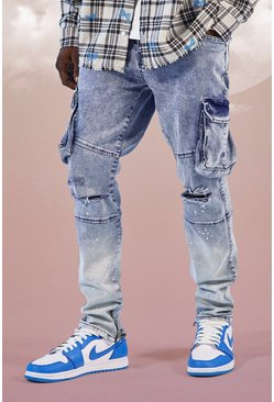 Ice blue Super Skinny Stretch Cargo Ombre Jean With Rips