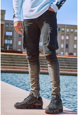 True black Skinny Stretch Cargo Ombre Jean With Rips