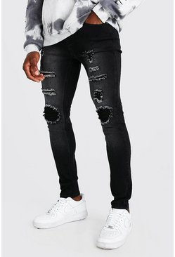 Washed black Super Skinny Rip And Repair Jeans