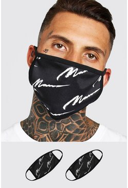 Black 2 Pack MAN Script All Over Fashion Masks