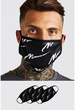 Black 3 Pack MAN Script Fashion Masks