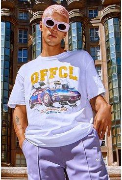 White Oversized Official Car Print T-Shirt