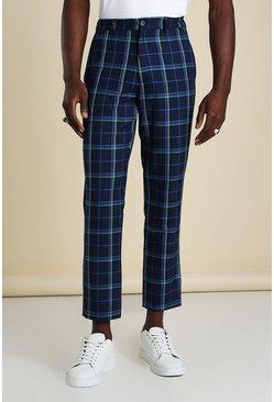 Blue Skinny Tartan Cropped Smart Trousers