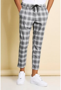 Grey Skinny Check Cropped Formal Jogger