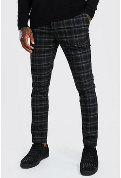 Black Skinny Check Smart Pants With Carabiner
