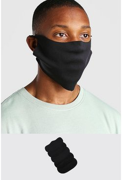 Black 5 Pack Plain Fashion Masks