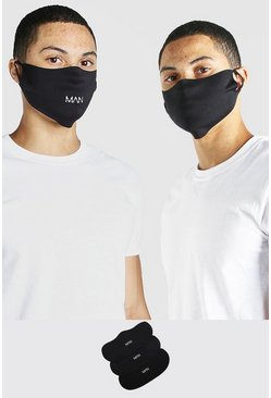 Black 3 Pack MAN Branded Fashion Masks
