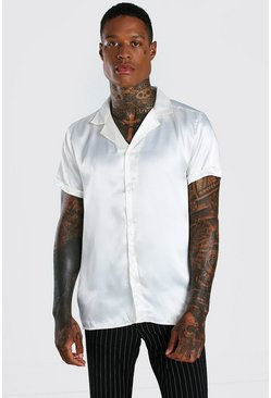 Ecru Short Sleeve Revere Collar Satin Shirt