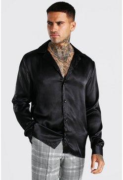Black Long Sleeve Revere Collar Satin Shirt