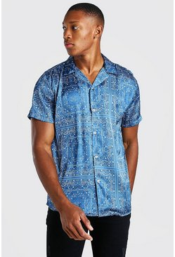 Navy Short Sleeve Bandana Print Satin Shirt