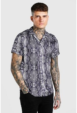 Grey Short Sleeve Snake Print Satin Shirt